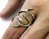 Jewelers Bronze Whitetail Deer Antler Ring - Moon Raven Designs