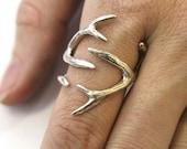 Sterling Silver Whitetail Deer Antler Ring - Moon Raven Designs
