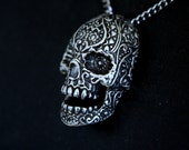Sugar Skull Pendant Necklace in Oxidized Sterling Silver Overlay on White Bronze 032