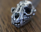 Cat Skull Necklace Silver Cat Skull Pendant Necklace with Fully Articulated Jaw Silver cat Skull 102