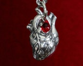 Anatomical Human Heart Pendant Necklace  in Solid Sterling Silver 154