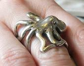 Octopus Ring Silver Octopus Ring 3D Sideways Octopus Ring 076