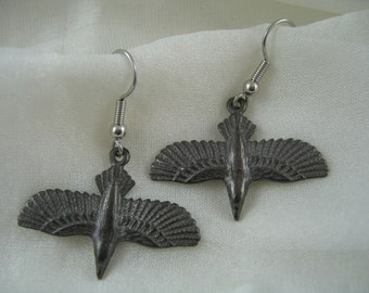 Black Soaring Raven Earrings in Solid White Bronze - Crow Bird 310