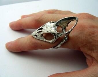Life Size Sterling Silver Chameleon Lizard Skull Finger Ring - Moon Raven Designs 051
