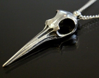 Silver Giant Hummingbird Skull Necklace in Solid White Bronze with Sterling Overlay 223