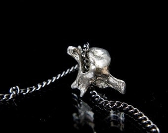 Fox Vertebrae Sterling Silver Fox Vertebrae Pendant Necklace Fox Spine Bone Necklace 088