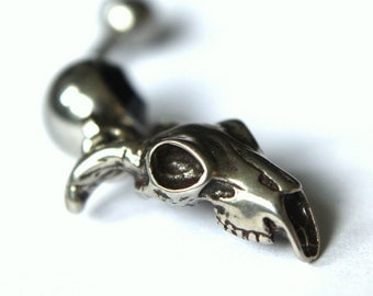 Ram Skull Belly Button Ring Sterling Silver Ram Skull Navel Ring 021