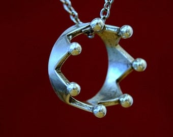 Two for One Sale...Coronet Crown Thumb Ring Necklace Silver Coronet Necklace 034