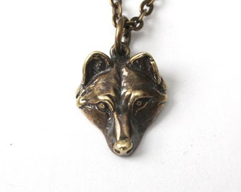 Wolf Necklace Bronze Wolf Pup Pendant Necklace 017