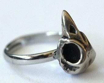 Bird Skull Ring Adjustable Bird Skull Ring  in White Bronze Bird Skull Ring 005