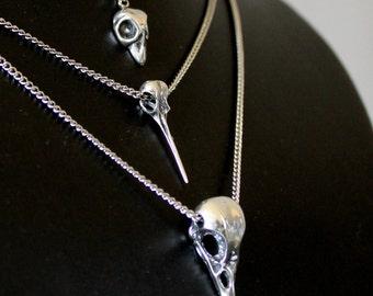 Bird Skull Necklace Cluster in Sterling Silver