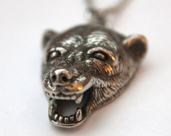 Two for One Sale...Bear Head Necklace in Antique Silver 2018