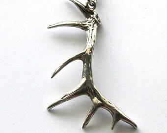 Elk Antler Necklace Solid Sterling Silver Elk Antler Pendant Necklace Sterling Elk Antler Jewelry 092