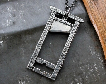 Guillotine Necklace Silver French Guillotine Pendant Necklace 136