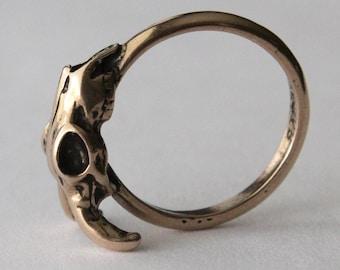 Two for One Sale....Ram Skull Ring in Solid Bronze Sideways Goat Skull Ring 126