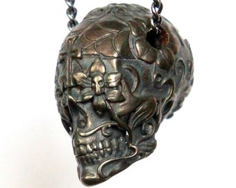 Sugar Skull Necklace Dark Oxidized Bronze Sugar Skull Pendant Necklace Day of the Dead 153