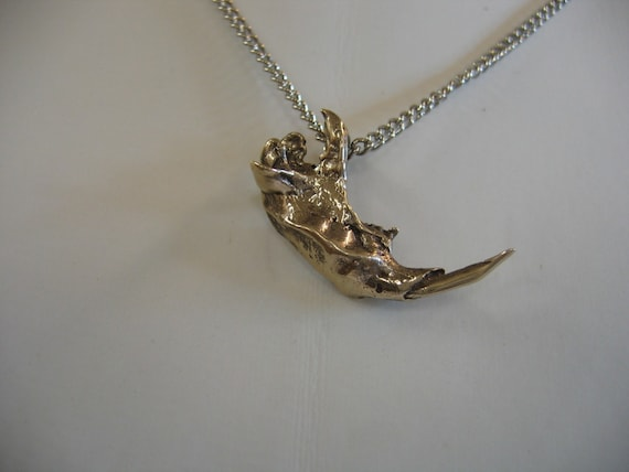 Life Size Bronze Squirrel Jaw Pendant - Moon Raven Designs