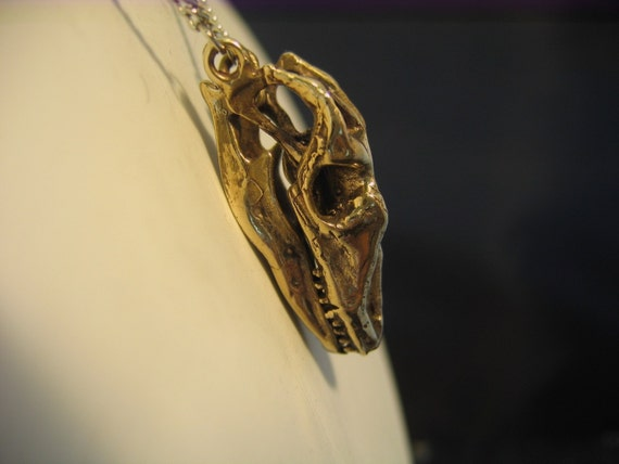 Bronze Komodo Dragon Skull Pendant With Articulated Lower Jaw