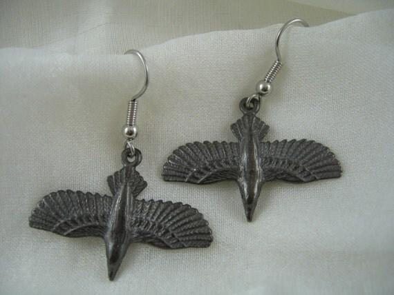 Black Soaring Raven Earrings in Solid White Bronze - Crow Bird 310