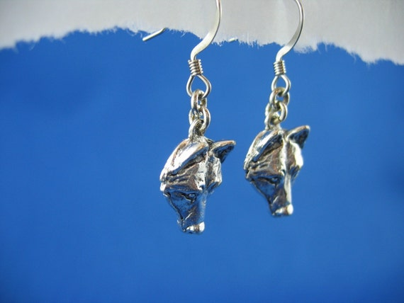 Wolf Mask Earrings - Silver Plated Metal