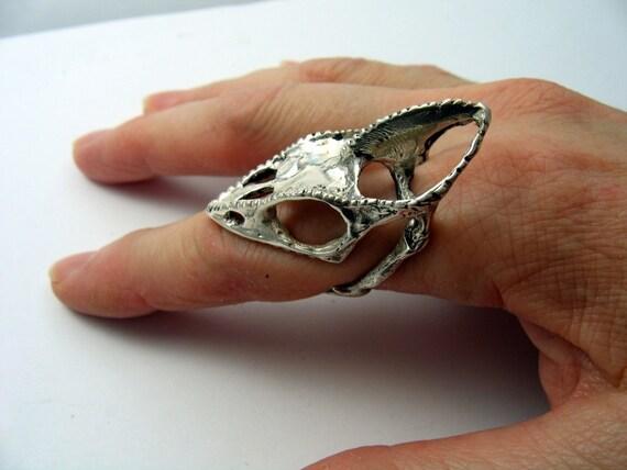 life size sterling silver chameleon lizard skull finger ring