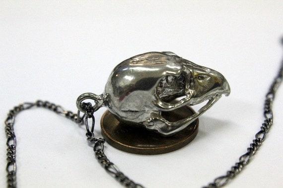 Hawk Skull Necklace Silver Hawk Skull Pendant Necklace Silver Kestrel Falcon Skull 103