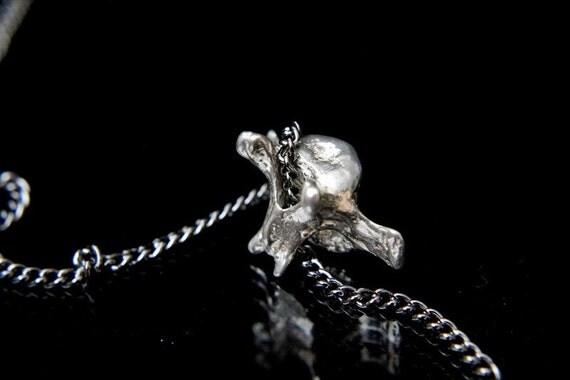 Fox Vertebrae Sterling Silver Fox Vertebrae Pendant Necklace Fox Spine Bone Necklace 088