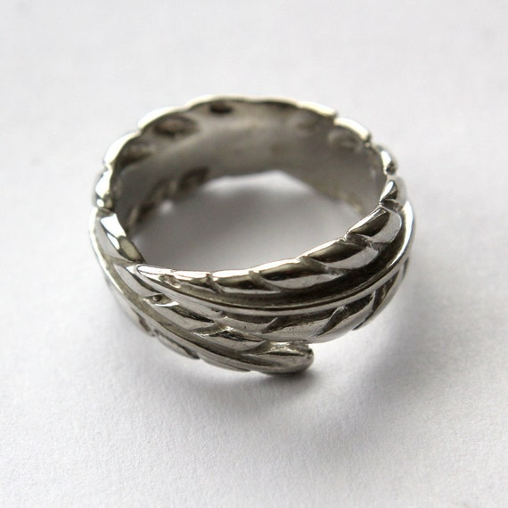 Sterling Silver Raven Feather Bypass Ring -Adjustable
