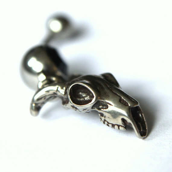 Ram Skull Belly Button Ring Sterling Silver Ram Skull Navel Ring 021