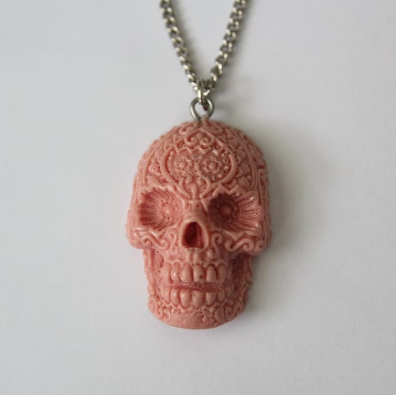 Sugar Skull Necklace - Bubblegum Pink