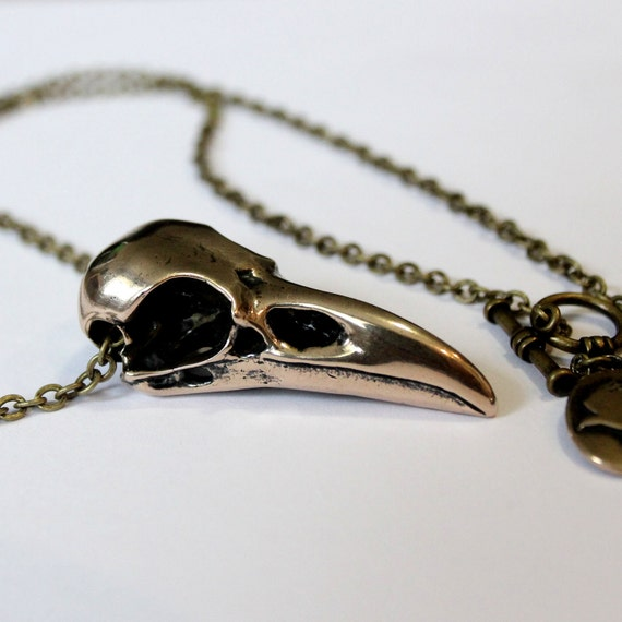 Raven Skull Necklace in  Solid Bronze Raven Skull Pendant Necklace Crow Bird 053