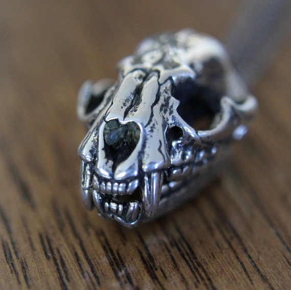 Cat Skull Necklace Silver Cat Skull Pendant Necklace with Fully Articulated Jaw Silver cat Skull 102