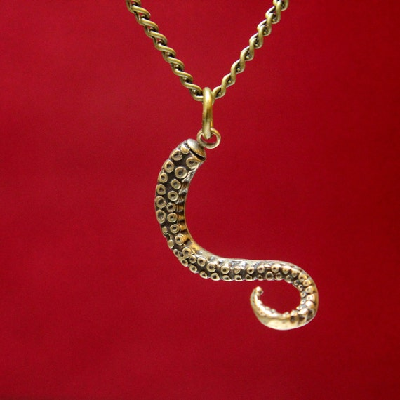 Octopus Tentacle Necklace in Solid Bronze Tentacle Pendant Necklace 115
