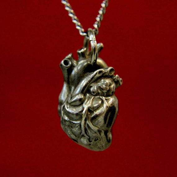 Anatomical Heart Necklace Black Anatomical Heart on a Gunmetal Chain 154