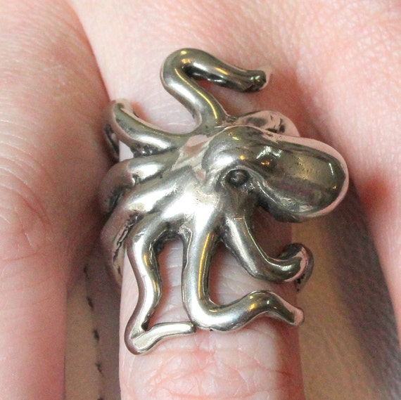 octopus ring solid sterling silver sideways octopus ring