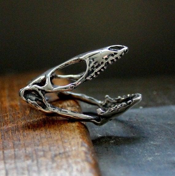 Lizard Skull Ring - Solid Sterling Silver Skink Skull Ring Reptile Skull Ring 078