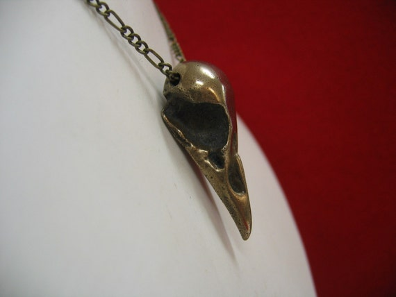 Raven Skull Pendant Necklace Bronze Bird Head
