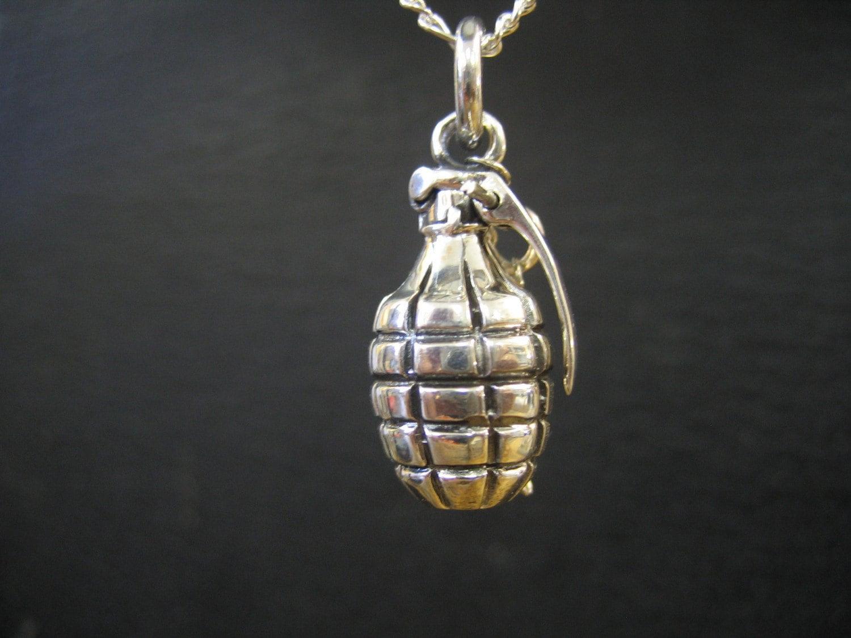 sterling silver grenade pendant
