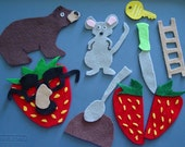 MOUSE, STRAWBERRY, and BEAR Children's Flannel Board Felt Board Story