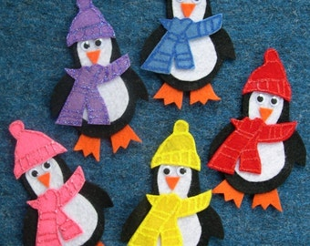 FIVE HAPPY PENGUINS Childrens Flannel Board Felt Set