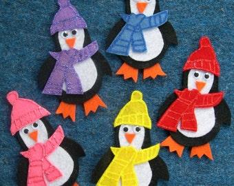 FIVE HAPPY PENGUINS Childrens Flannel Board Felt Set