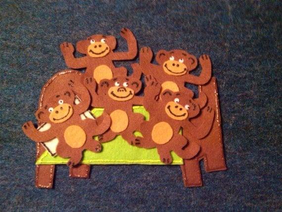 Five Monkeys Jumping on the Bed Children's flannel board felt story