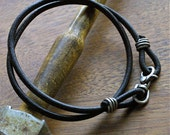 Rustic Mens Leather and Silver Wrap Bracelet