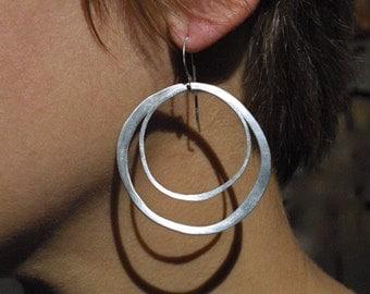Rustic Silver Double Hoop Earrings