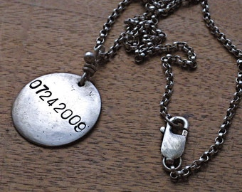 Mens Rustic Silver Custom Capitola Pendant - Personalized and Unique, Hand Stamped Jewelry for Men - Rustic, Hip, Made to Order