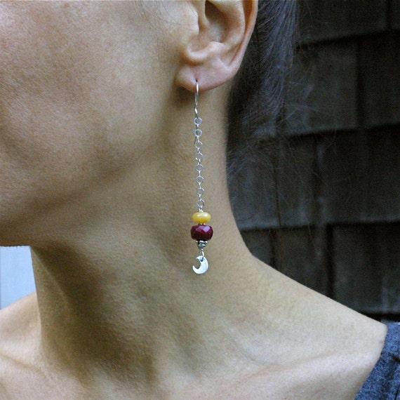 Gyspy Chic Ruby, Honey Yellow Jade and Sterling Silver Long Dangle Earrings - OOAK