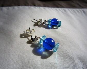 Blue Glass Post Earrings