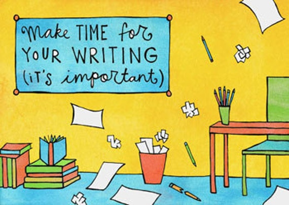 Make Time For Your Writing (mini doodle magnet)