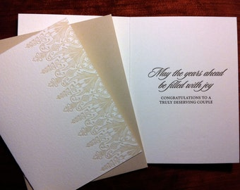 May The Years Ahead Be Filled With Joy-- letterpress wedding card