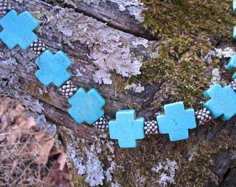 Turquoise Blue Cross Necklace - St Andrews Cross in Stone